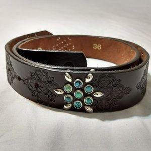 Sundance Tooled Leather Belt 36